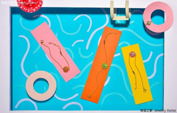 Dior 迪奥 Rose des vents系列 橙色釉漆、绿色釉漆、粉红色釉漆手链.jpg