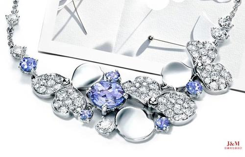 Tiffany&Co.蒂芙尼 全新花韻系列 鉑金鑲嵌鉆石及坦桑石項鏈.jpg